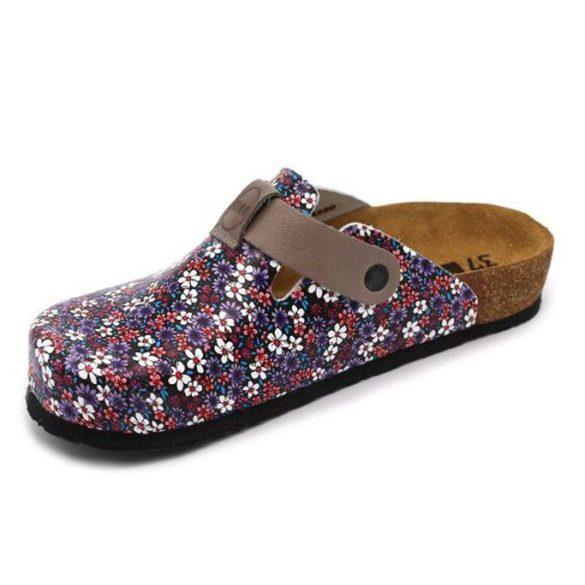 Leon Comfort 4250 Kék-Virág női papucs